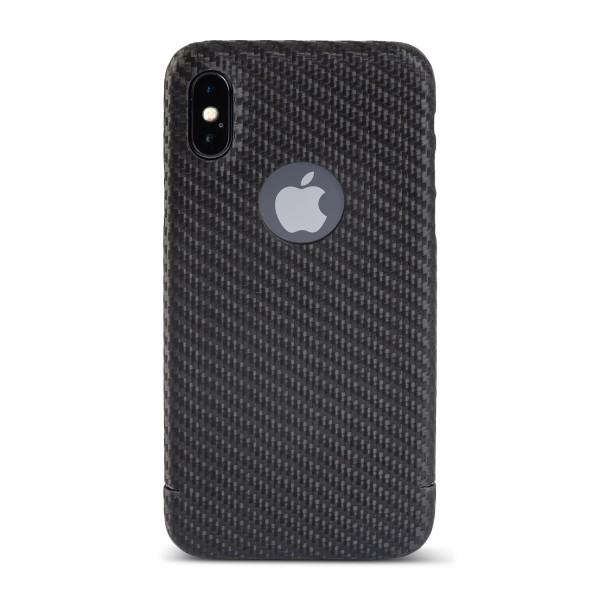 Carbon Cover iPhone X avec Logo Window